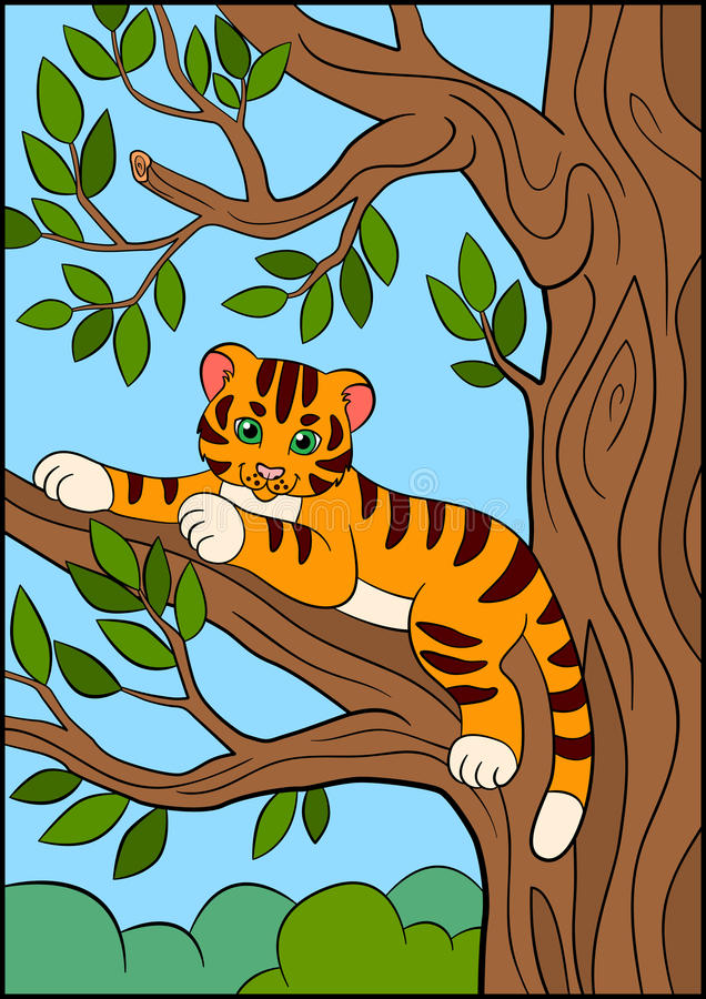Coloring pages. Wild animals. Little cute baby tiger lays and smiles. Coloring pages. Wild animals. Little cute baby tiger lays on the tree branch and smiles royalty free illustration