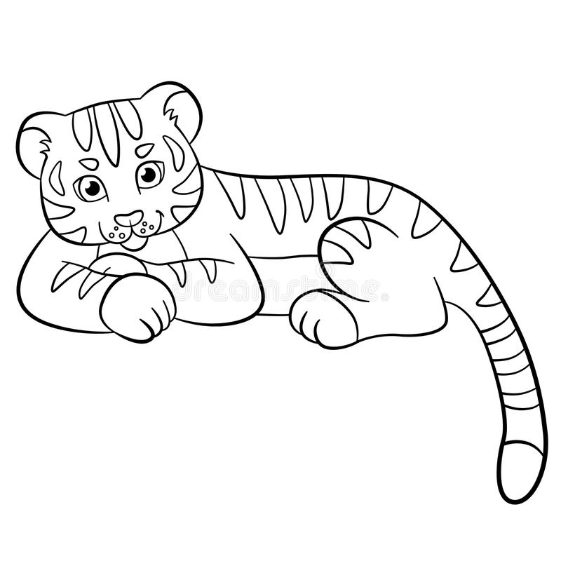 Coloring pages. Wild animals. Little cute baby tiger smiles. Coloring pages. Wild animals. Little cute baby tiger lays and smiles royalty free illustration