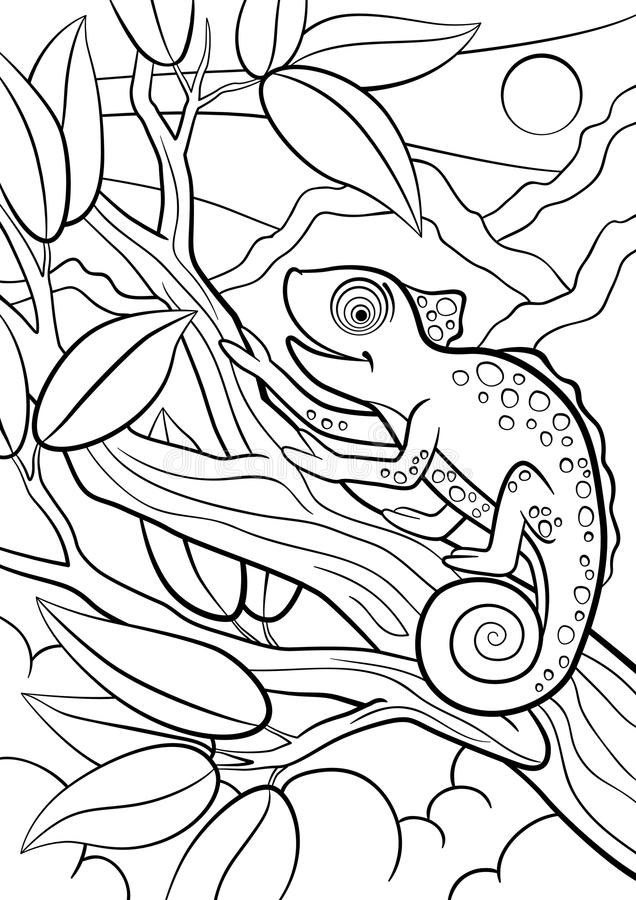 Coloring Pages Wild Animals Little Cute Chameleon Stock