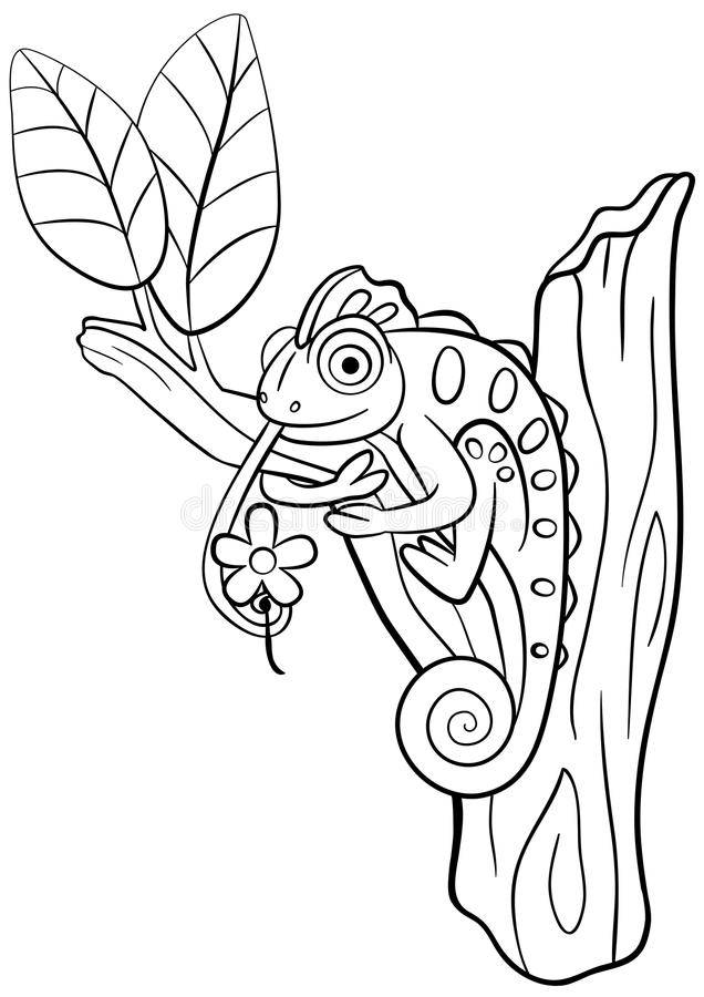 Coloring Pages. Wild Animals. Little Cute Chameleon. Stock ...