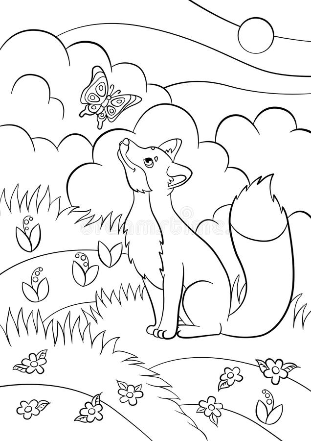 Coloring Pages Wild Animals Little Cute Fox Looks At The