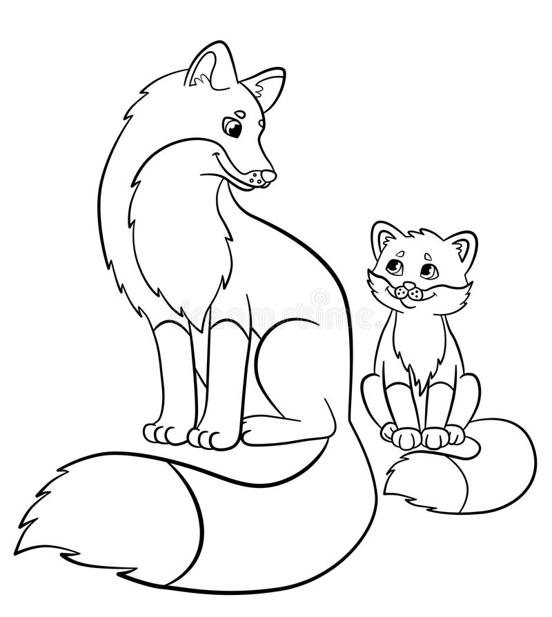 Coloring Pages. Wild Animals. Mother Fox With Her Little Cute Baby ...