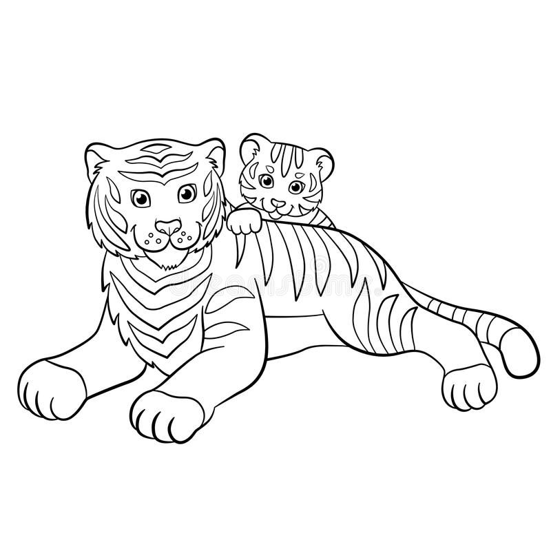 coloring pages wild animals mother tiger with her little cute stock vector illustration of. Black Bedroom Furniture Sets. Home Design Ideas