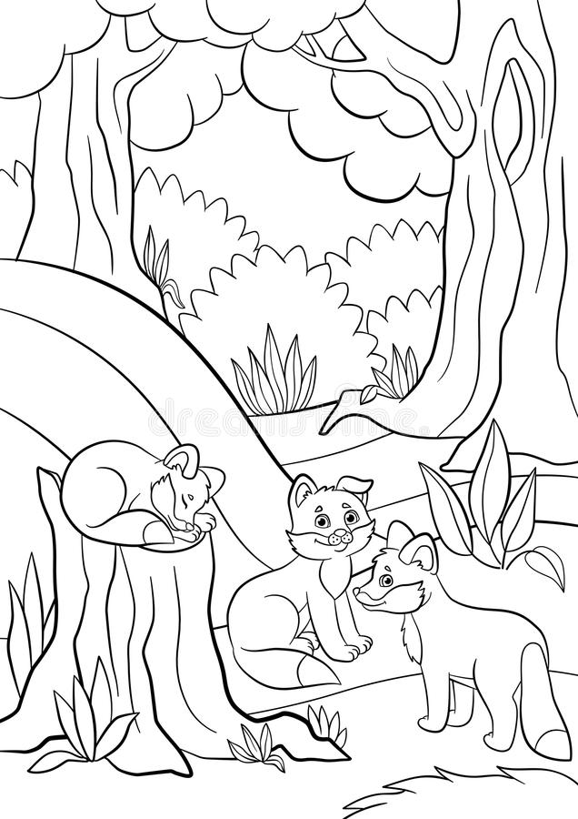 Coloring Pages. Wild Animals. Three Little Cute Baby Fox. Stock ...