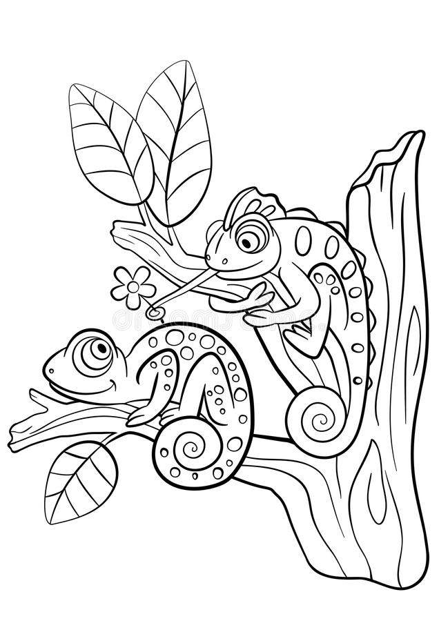chameleon coloring pages free | Coloring Pages. Wild Animals. Two Little Cute Chameleon ...