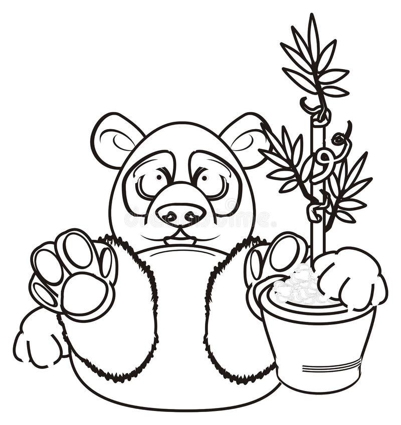 Coloring panda hold a plant royalty free illustration