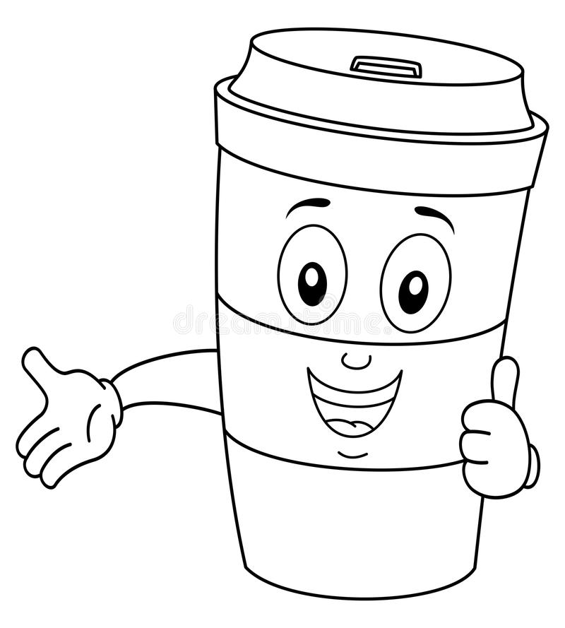 Coloring Paper Coffee Cup with Thumbs Up. Coloring illustration for kids: a funny cartoon paper coffee cup character with thumbs up smiling, isolated on white royalty free illustration