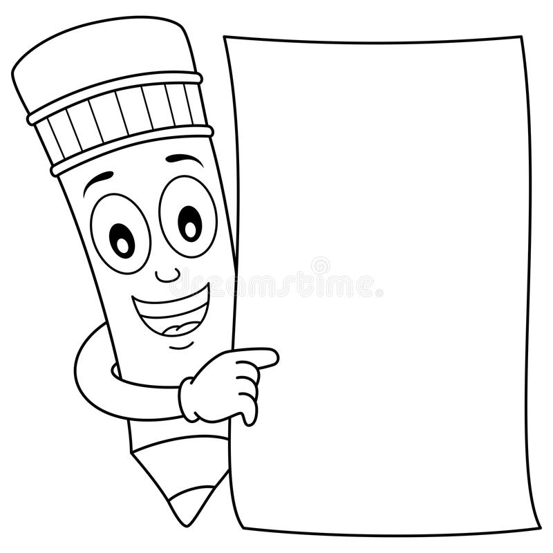 Coloring Pencil Character & Blank Paper Stock Vector - Illustration ...