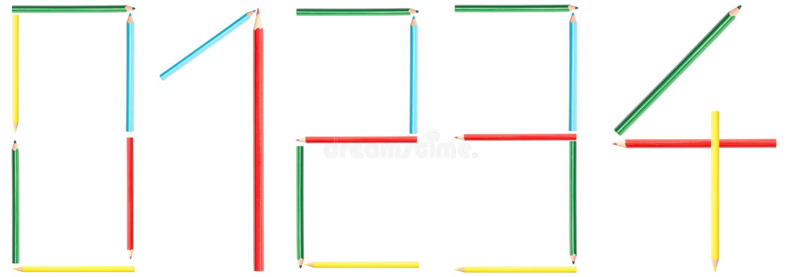 Coloring Pencils Numbers 0-4 royalty free stock image