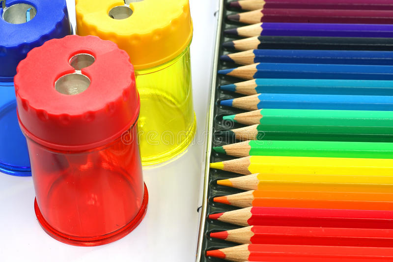 Download Coloring Pencils And  Pencil Sharpeners Stock Photo - Image of assortment, objects: 11948044