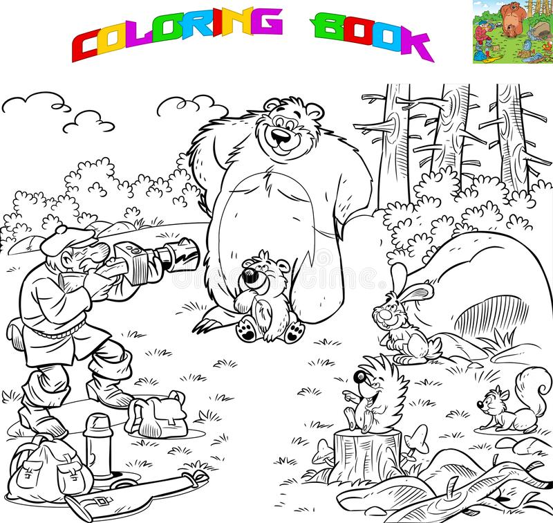 Coloring photo hunting. The illustration shows a male tourist who is engaged in photo hunting. Animals on a forest glade posing for a photoshoot. Vector royalty free illustration