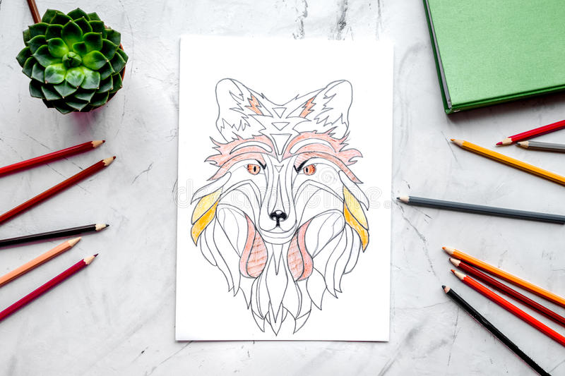 Coloring picture for adults on stone background top view.  royalty free illustration