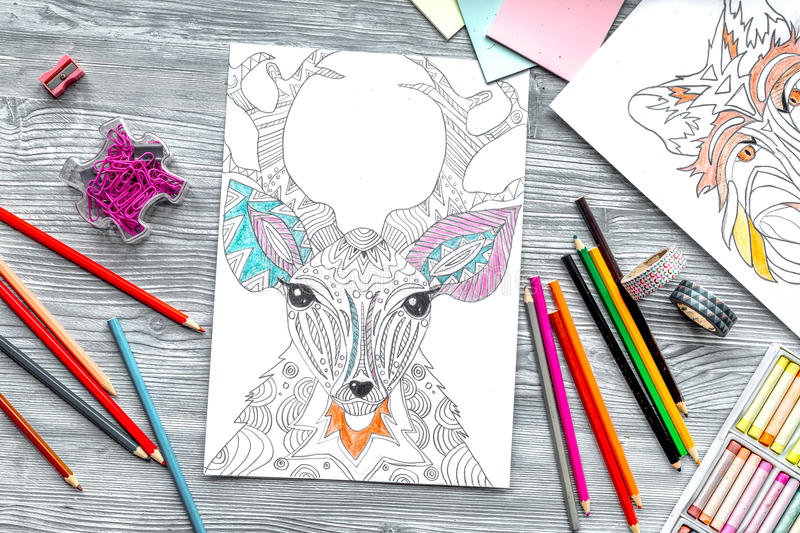 Coloring picture for adults on wooden background top view.  vector illustration