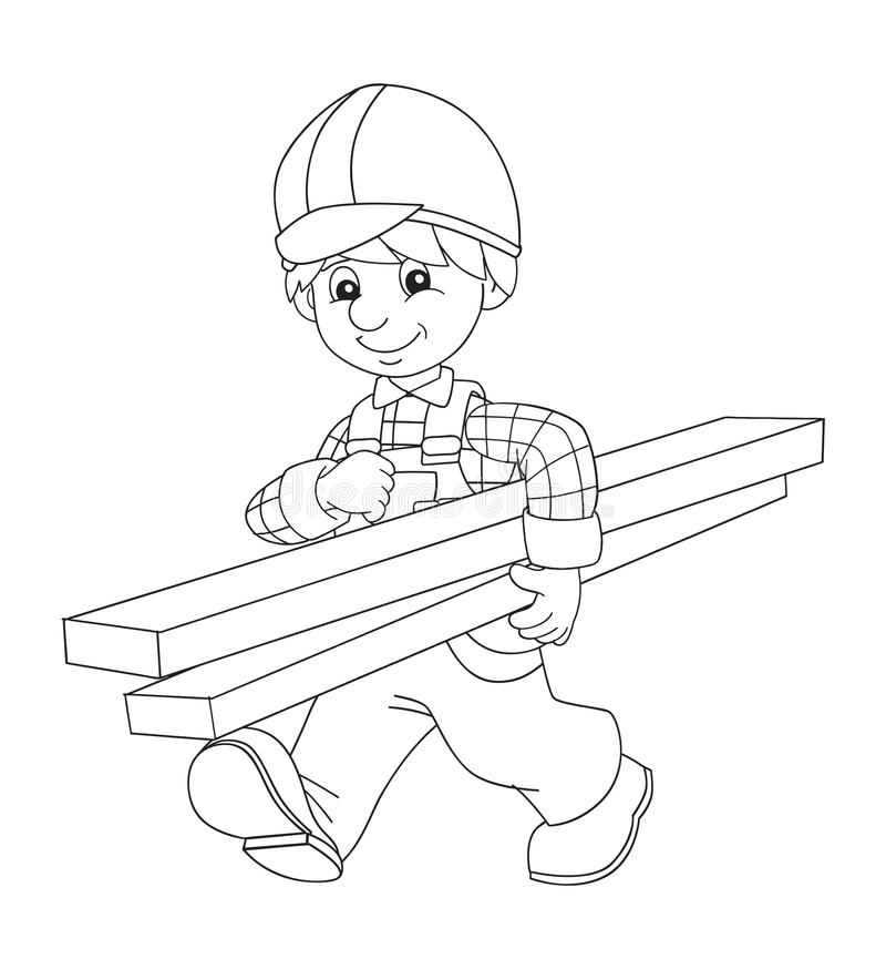 the coloring plate - construction worker - illustration for the ... - Construction Worker Coloring Pages
