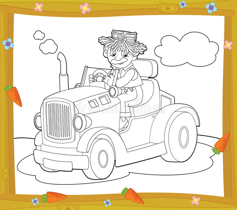 The Coloring Plate - Farm Vehicle - Illustration For The Children Stock Photo