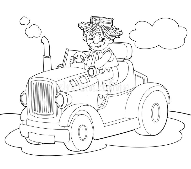 Download The Coloring Plate - Farm Vehicle - Illustration For The Children Stock Illustration - Image: 32739965