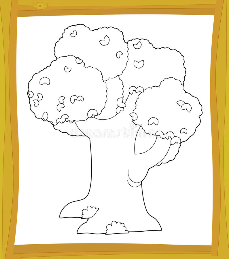 The Coloring Plate - Tree - Illustration For The Children Stock Images