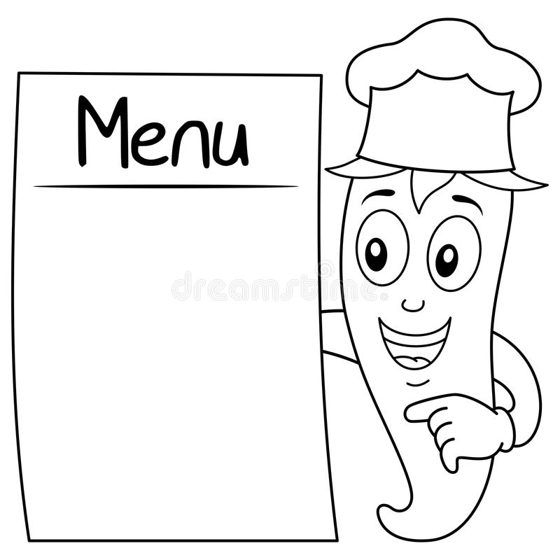 coloring red chili pepper with blank menu stock vector