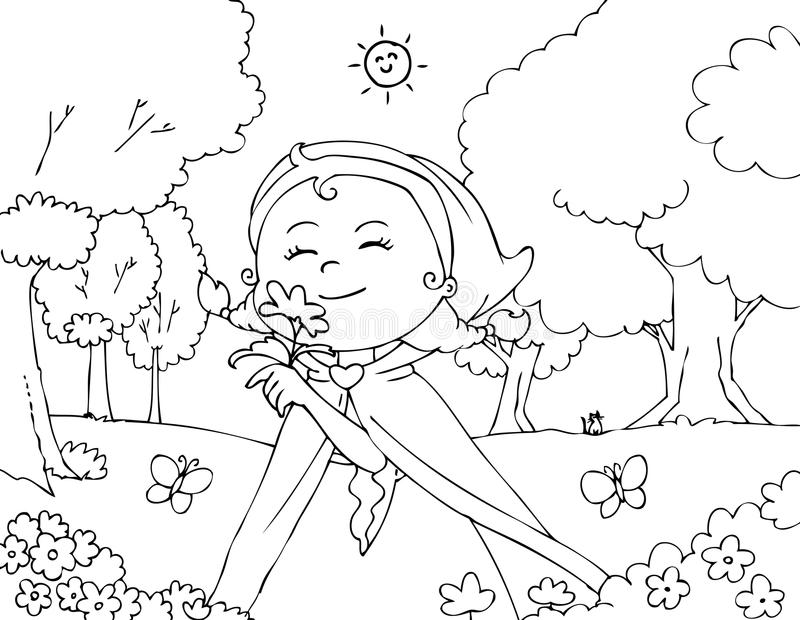 Coloring Red Riding Hood with flowers vector vector illustration