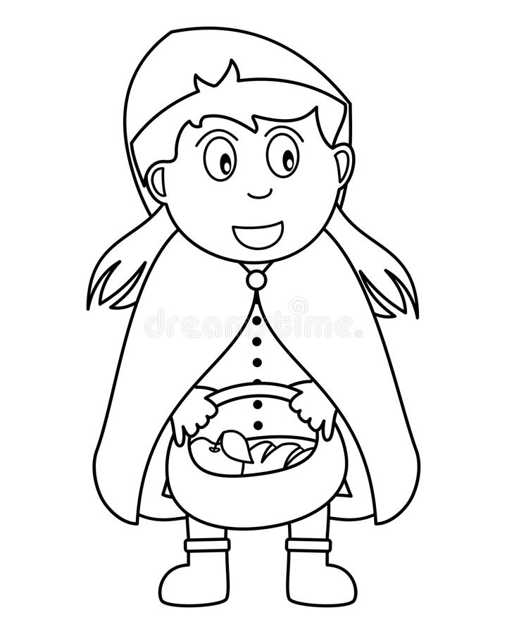 Coloring Red Riding Hood with Food Basket stock illustration