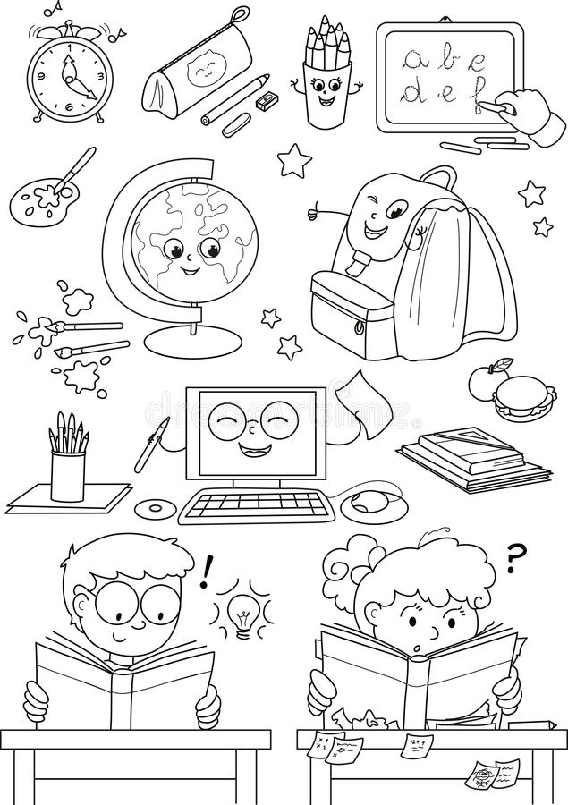 Free Coloring School Elements For Little Kids Royalty Free Stock Images - 26841609