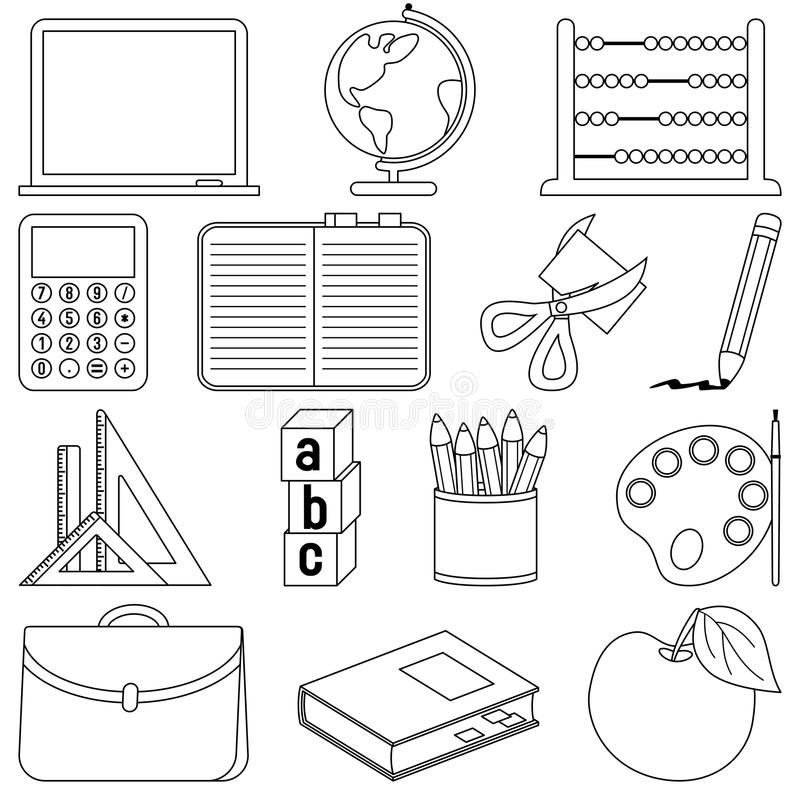 Coloring School Icons. School and education icons set, black and white version. Useful also for educational or colouring books for kids. You can find other b/w vector illustration