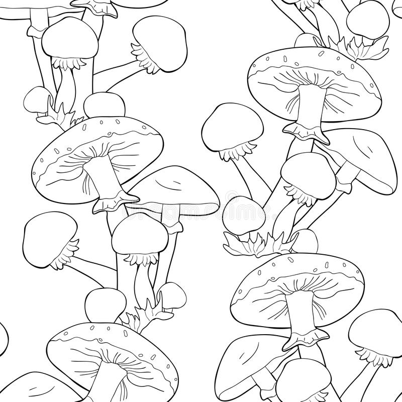 Coloring seamless pattern mushroom honey agaric fungus. vector. Coloring seamless pattern mushroom honey agaric fungus vector illustration stock illustration