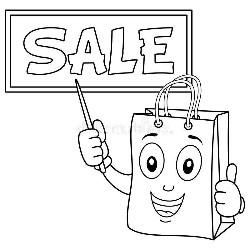 Coloring Shopping Bag With Sale Board Stock Vector - Illustration of ...