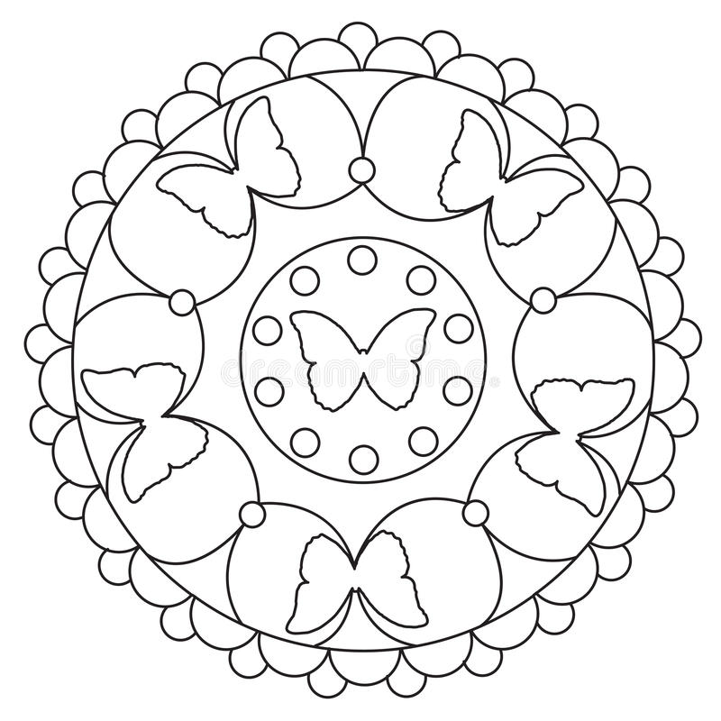 Coloring Simple Butterfly Mandala Stock Vector ...