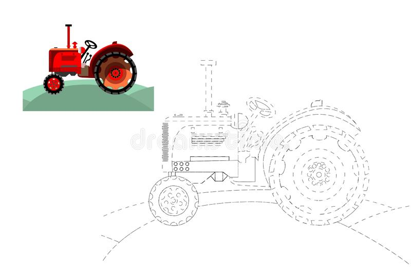 Coloring. Simple educational game for children. Vector illustration of a tractor. Coloring. Simple educational game for children. Vector illustration of a stock illustration