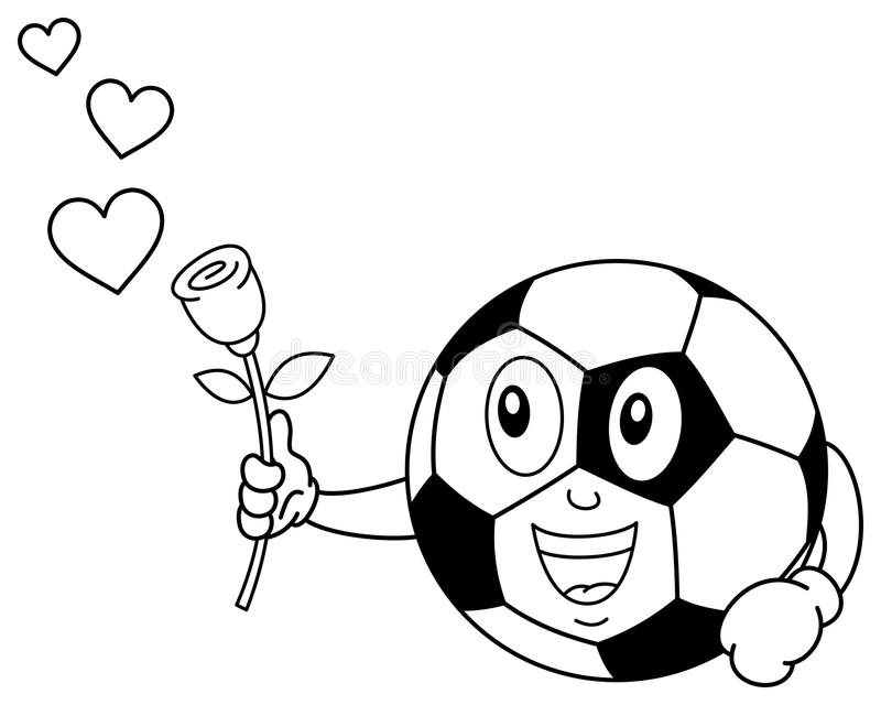 Coloring Soccer Ball Character with Rose vector illustration