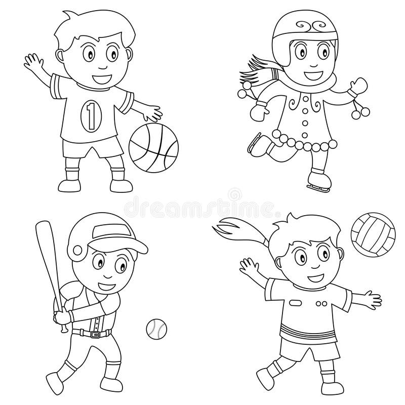 Coloring Sport for Kids [1]. Four kids playing sport (basketball, ice skating, baseball and volleyball), black and white version. Useful also for educational or vector illustration