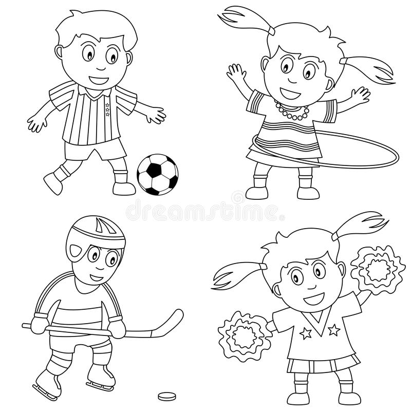 Coloring Sport for Kids [2]. Four kids playing sport (soccer, hula hoop, ice hockey and cheerleader), black and white version. Useful also for educational or stock illustration