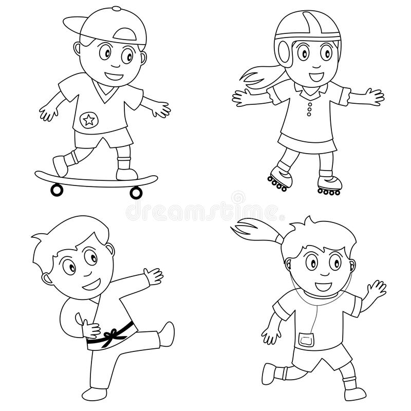 Coloring Sport for Kids [4]. Four kids playing sport (skateboard, rollerblade, karate and running), black and white version. Useful also for educational or vector illustration