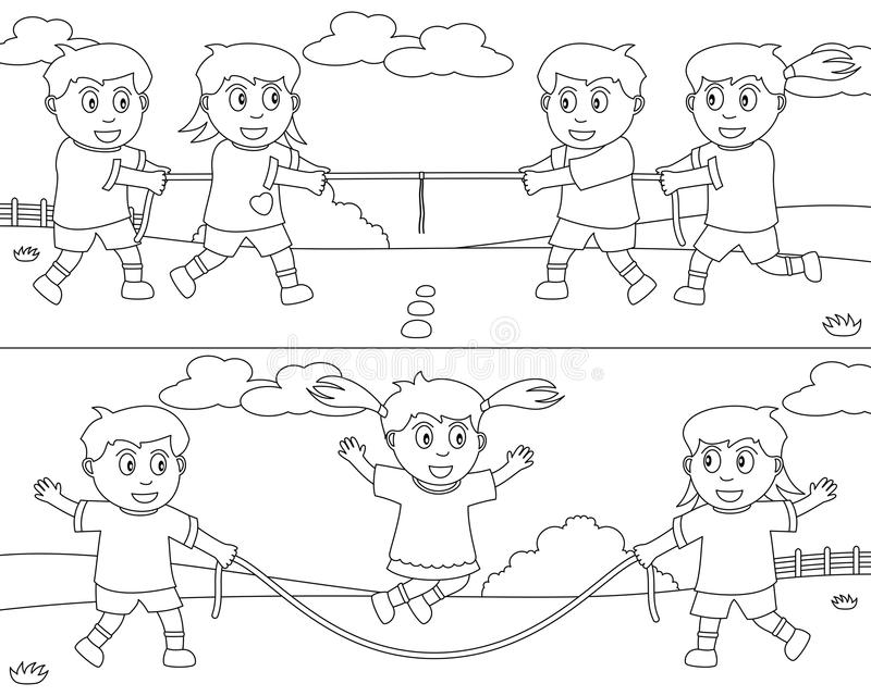 Coloring Sport for Kids [7]. Two illustrations showing kids playing at tug of war and jumping rope, black and white version. Useful also for educational or vector illustration