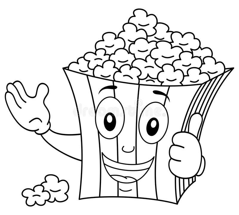 coloring striped popcorn bag smiling illustration kids funny cartoon paper character thumbs up isolated white 86518727