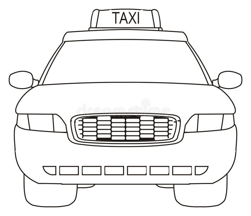 Coloring taxi car. One coloring taxi car on a white background royalty free illustration
