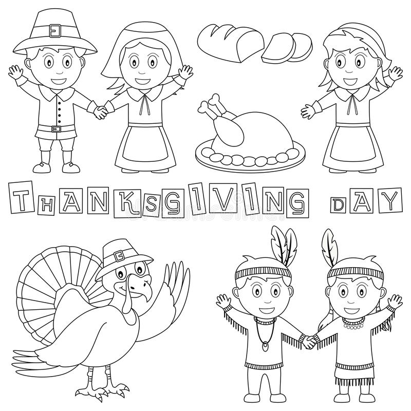 Coloring Thanksgiving Elements. (Pilgrims, Indians, turkey, bread). Useful also for educational or colouring books for kids. Eps file available royalty free illustration