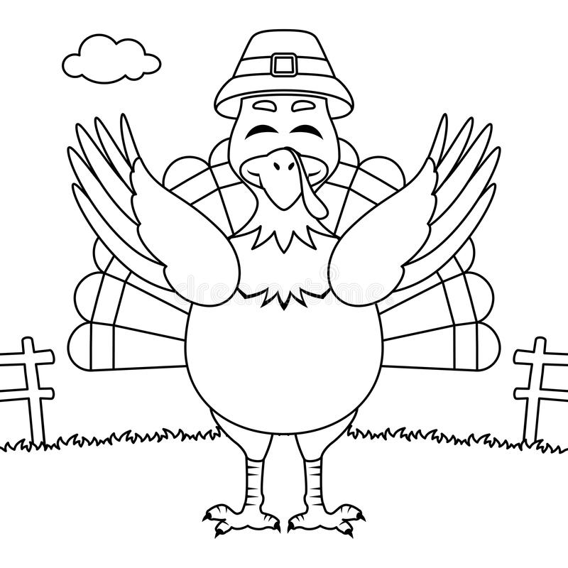 Coloring Thanksgiving Happy Turkey Smiling vector illustration