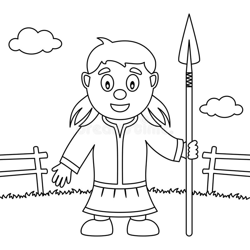 Coloring Thanksgiving Native Woman Spear royalty free illustration