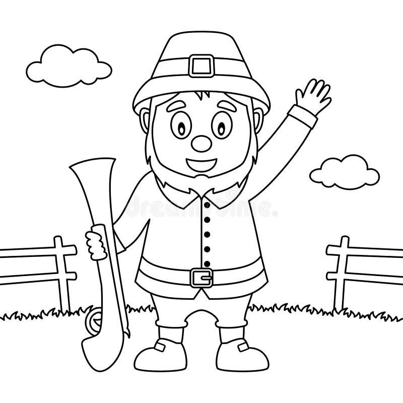 Coloring Thanksgiving Pilgrim Man with Rifle royalty free illustration