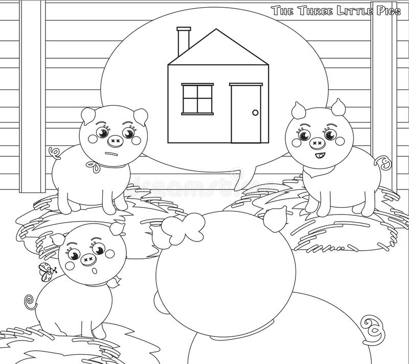 Coloring three little pigs 2. A new house vector illustration