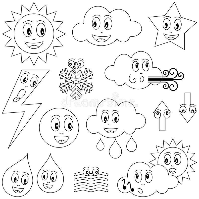 Download Coloring Weather Characters Stock Vector - Illustration of forecast, drawing: 14322773