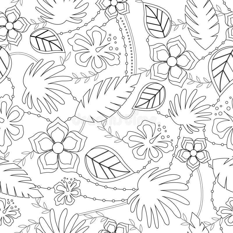 Colorir antistress com teste padrão havaiano ilustração stock