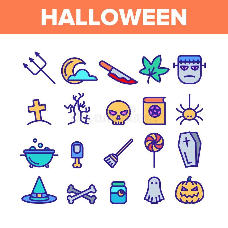Colorir Vetor de Conjunto de Ícones de Halloween Diferentes ilustração stock