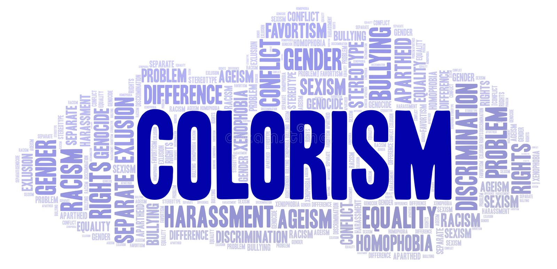 Colorism - tipo de discriminação - nuvem da palavra ilustração royalty free
