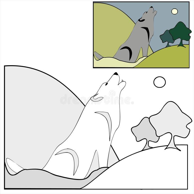 Coloritura con i modelli - lupo di notte in legno immagini stock