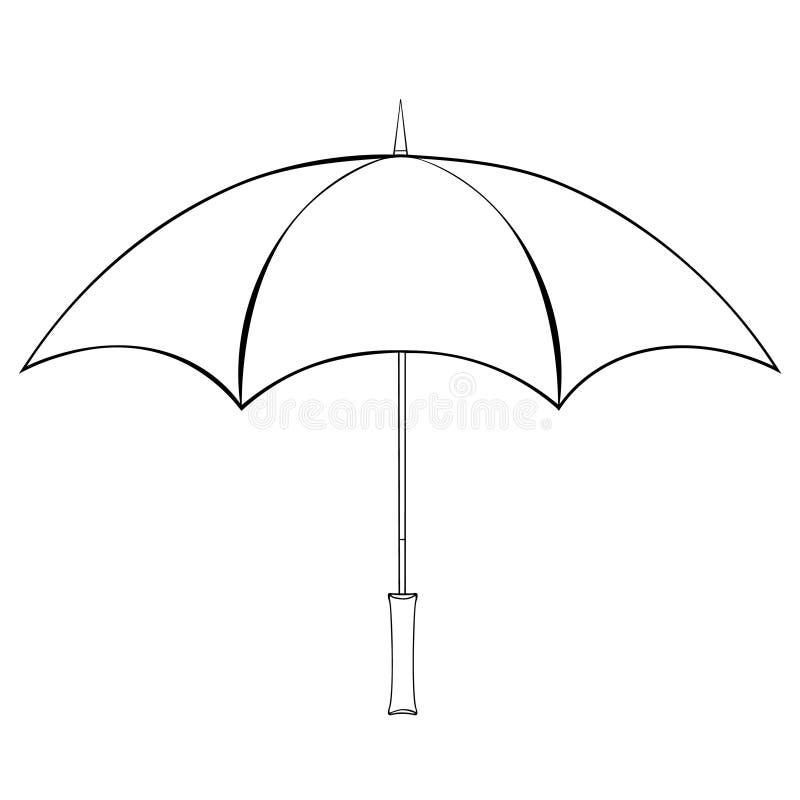 Coloritura dalla vista laterale dell'ombrello della pioggia Illustrazione di vettore illustrazione di stock