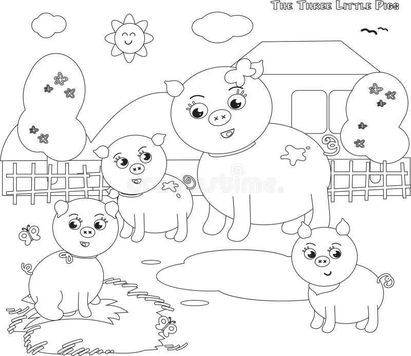 Coloritura dei tre maiali piccoli 1 illustrazione vettoriale