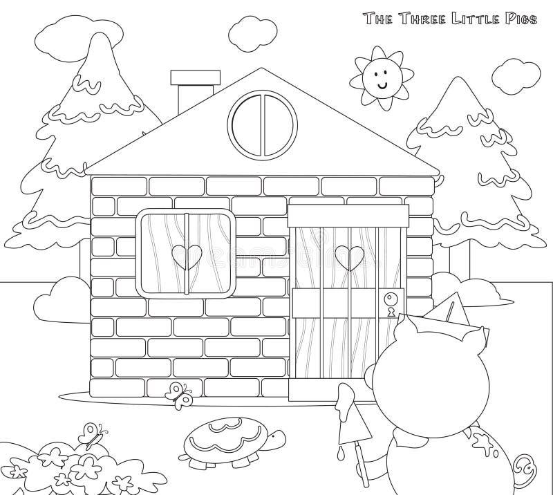 Coloritura dei tre maiali piccoli 8: i mattoni alloggiano finito illustrazione vettoriale